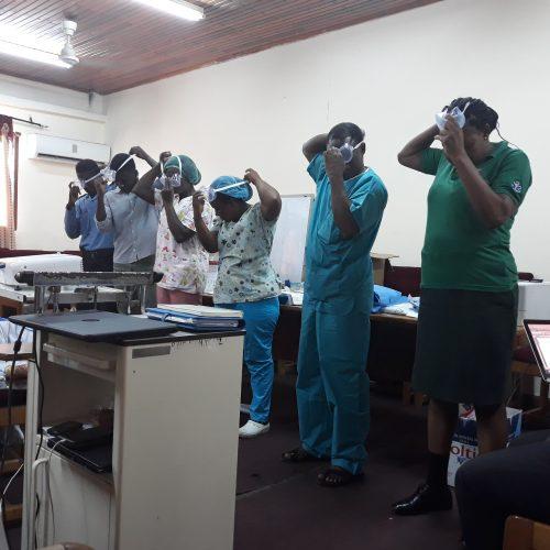 Training staff at the Greater Accra Regional Ridge Hospital, Ghana (Mate, May 2020)