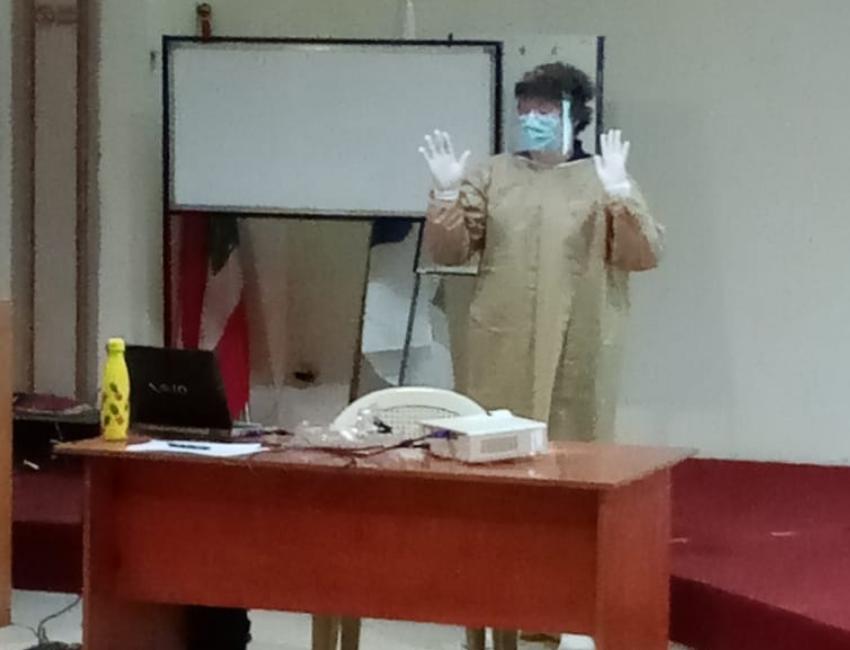 Harriet Walton IPC nurse delivering PPE training.  (Williams August 2020)