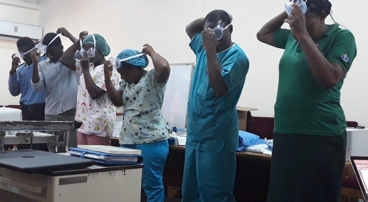 Training staff at Greater Accra Regional Ridge Hospital